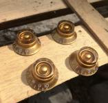 4 Bell Knobs Gold Top Hat Control Knobs for Gibson Les Paul Electric Guitar Parts – Made by Bulldog Parts