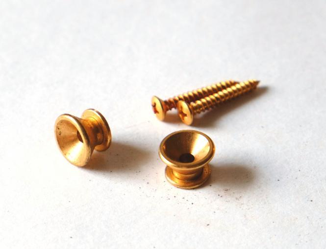 Aged Gurt Knopf Set mit Schrauben - Gold – passend für Strat ®