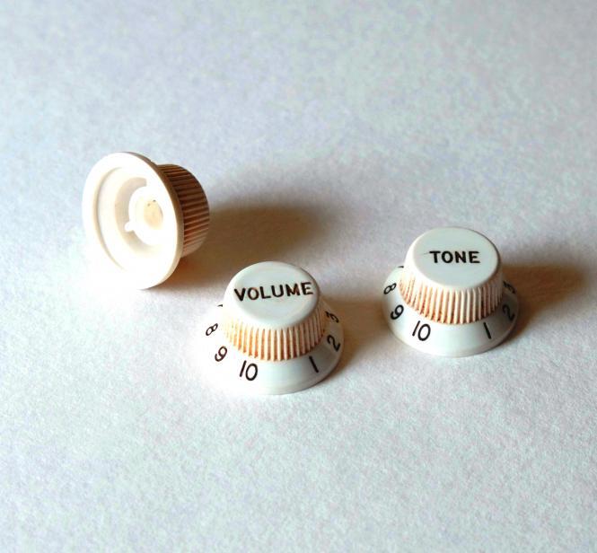 Aged 54/55 Bakelite Style Relic ® Poti Knöpfe Set - 3 Spokes – passend für Strat ®