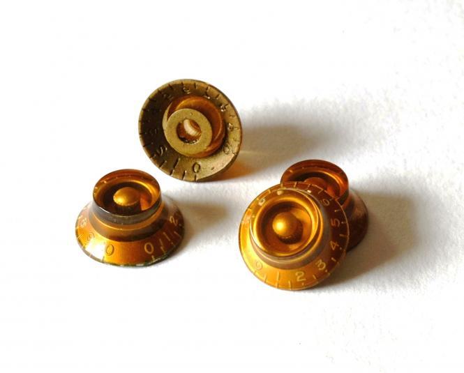 Aged Gold BELL Poti Knöpfe Set (4) - passend für Les Paul ®