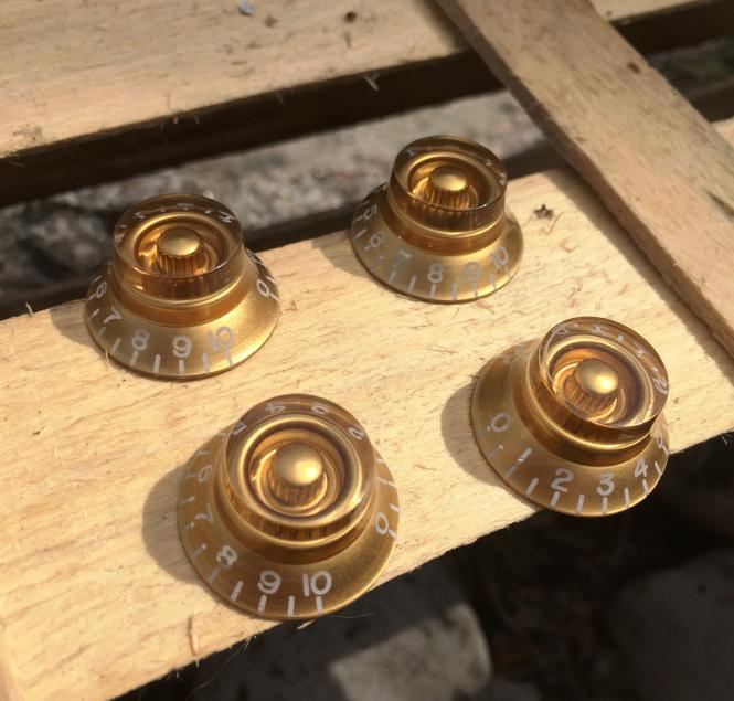 4 Bell Knob Poti Knöpfe Gold Top Hat für Gibson Les Paul Electric Guitar Parts – Made by Bulldog Parts