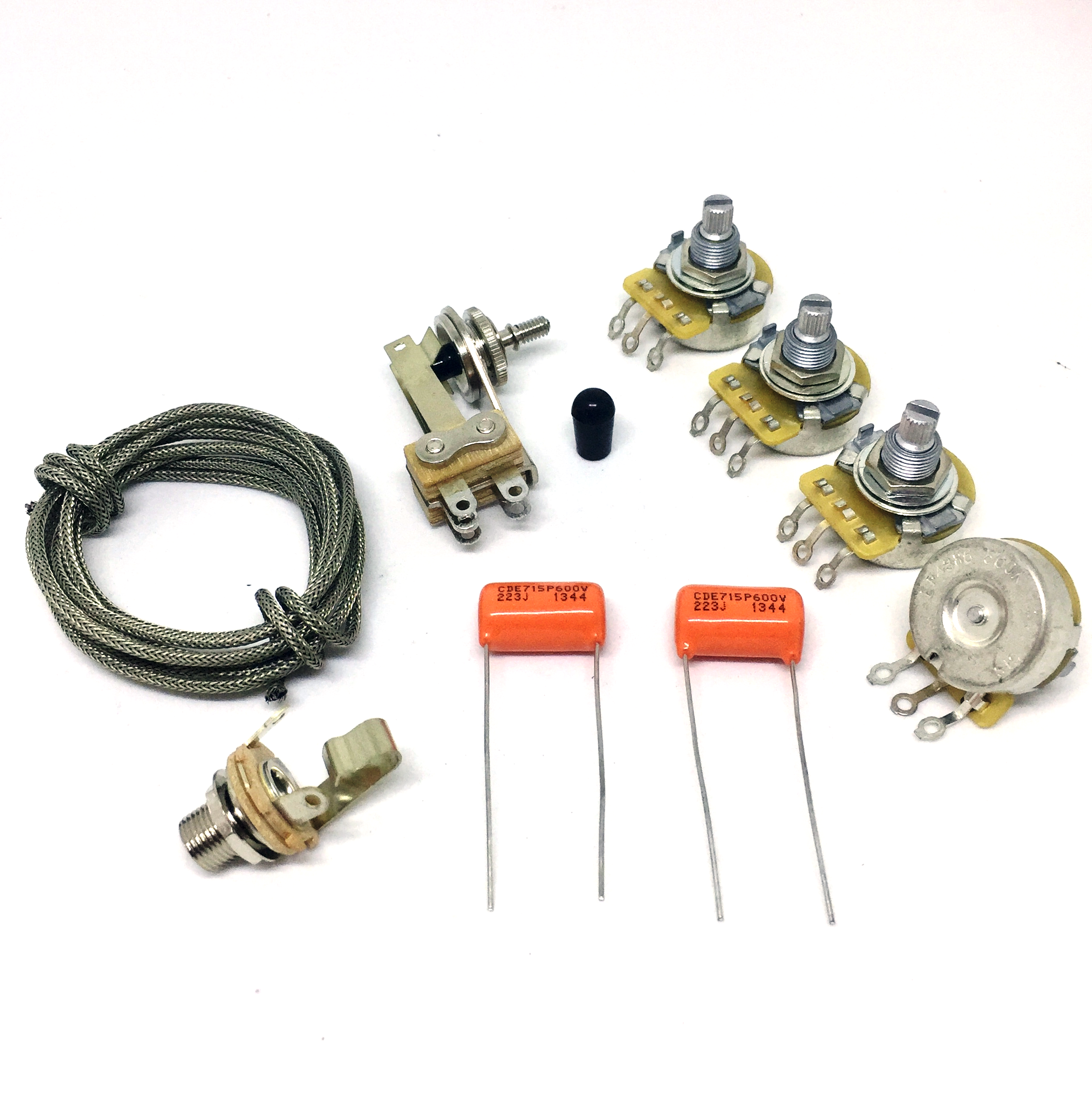 sg wiring kit cts 500k pots sprague  022mf capacitors switchcraft toggle  switch & input jack