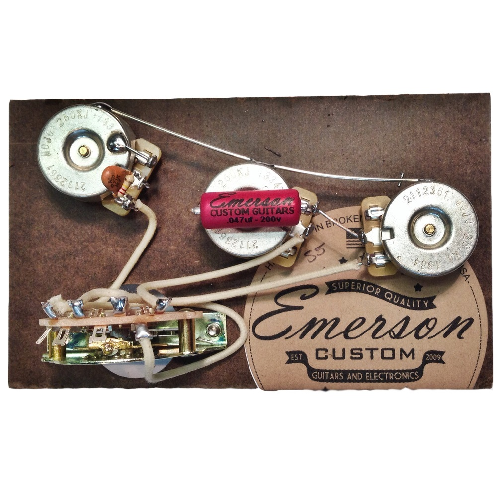 Emerson Custom Prewired Kit S5 5 Way Standard 250k fits to Strat ®