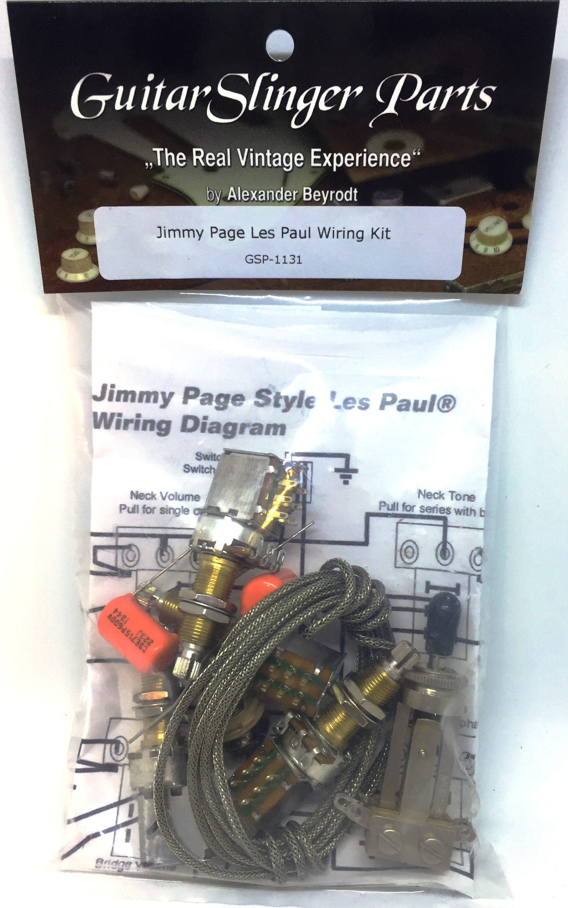 Guitarslinger Products Premium Jimmy Page Wiring Kit For Les Paul Pre Wired Harness Product Images